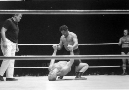 Karl Gotch bridges under Rocky Montero
