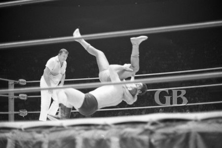 Gene Kiniski deals Pedro Morales a crushing blow with his reverse suplex