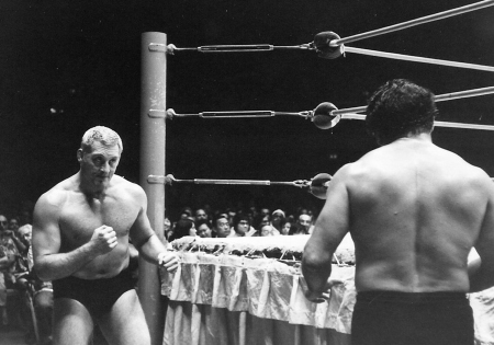Karl Gotch squares off against Rocky Montero